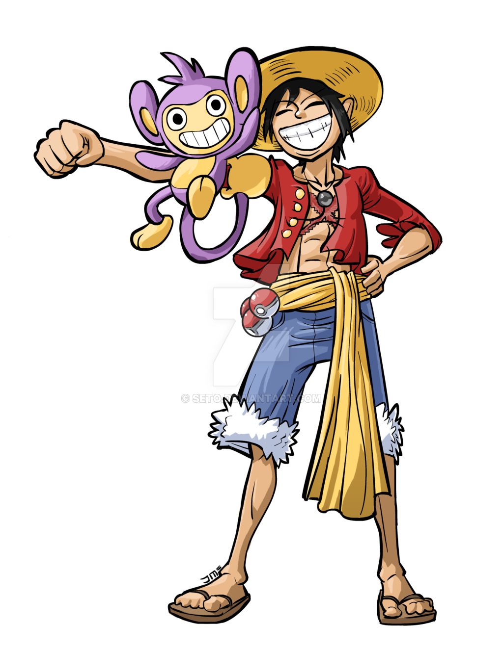 Commissioned Sketch – Monkey D. Luffy with Aipom by seto on DeviantArt