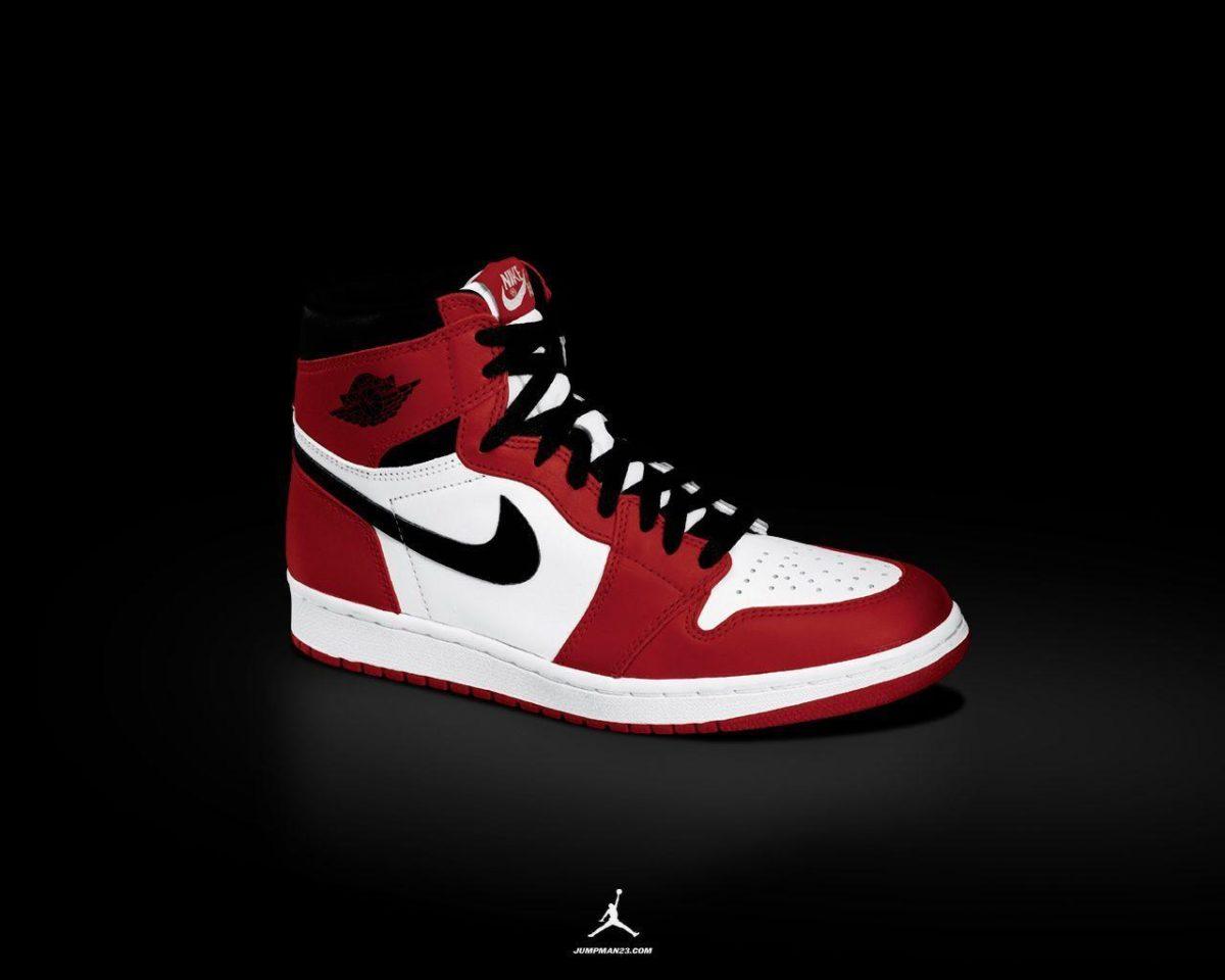 Air Jordan 1 (I) – white/black-red Wallpaper – KicksOnFire.com