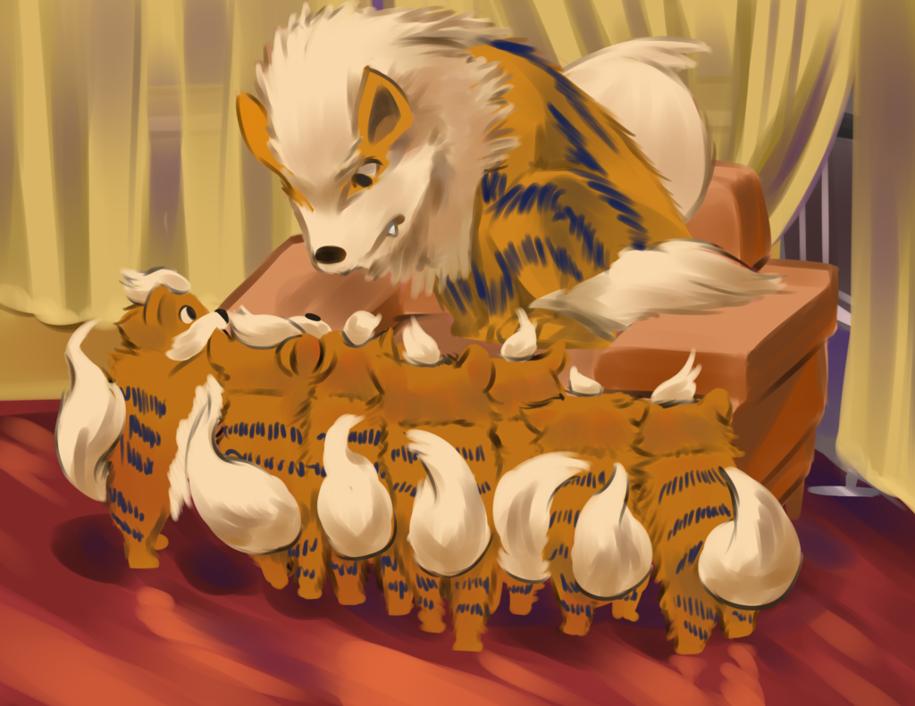 Arcanine With Cute Growlithe Art Wallpaper #4055 Wallpaper Themes …