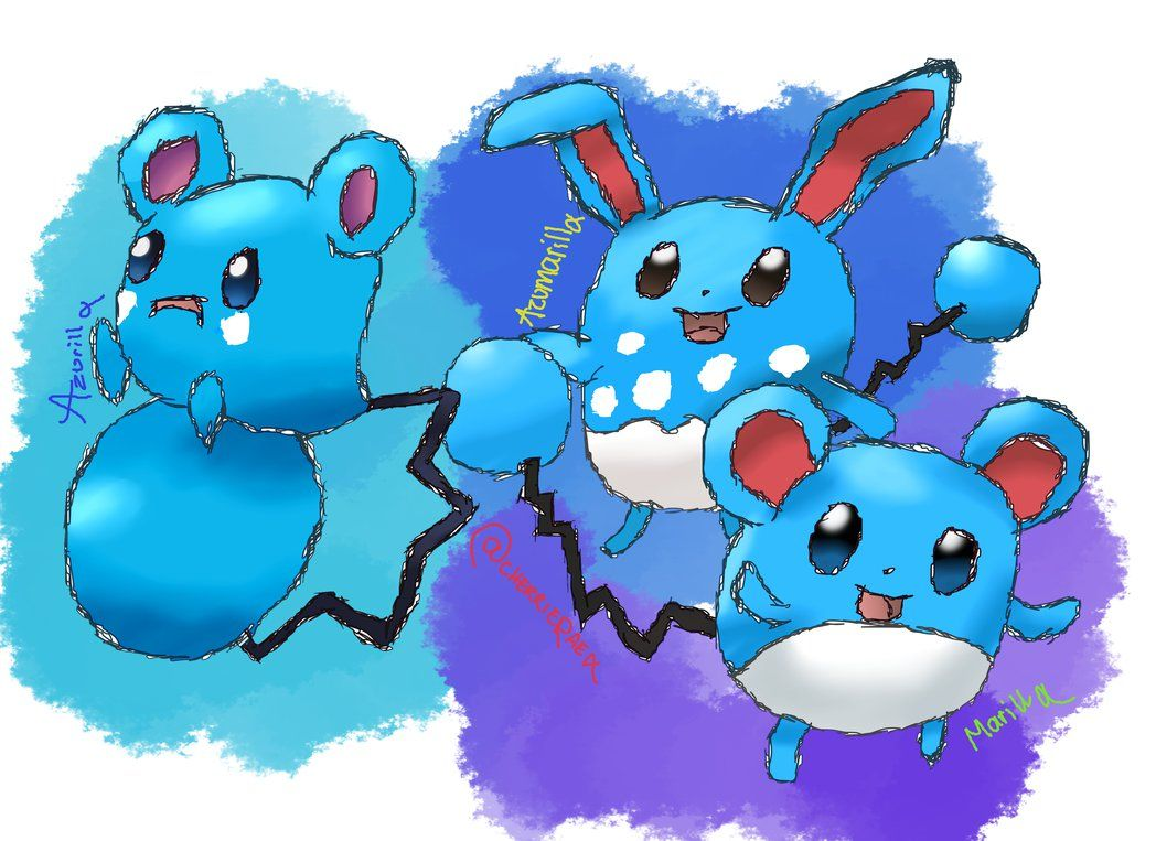 Azurill / Marill / Azumarill Evolution Line by Cherrierae on DeviantArt