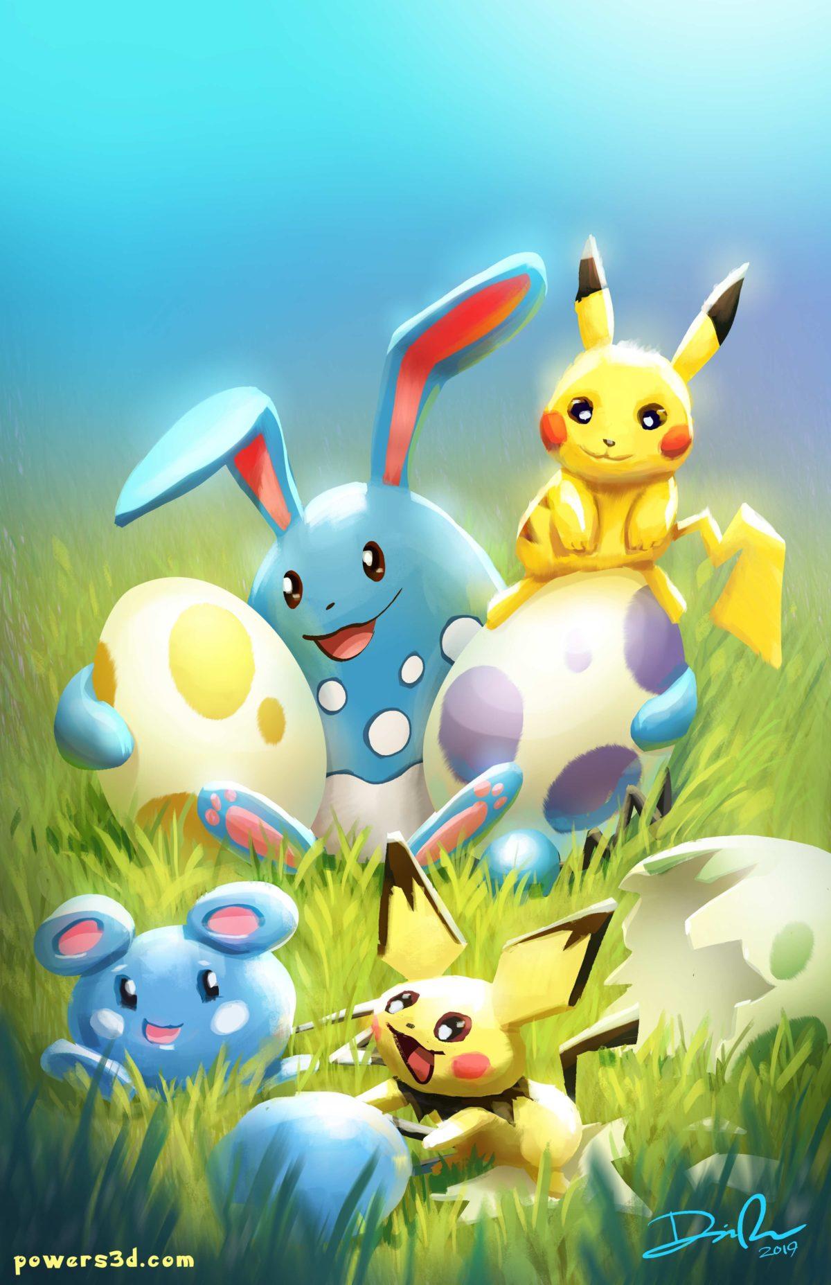 pokemon, pikachu, easter, pichu, azumarill, azurill, eggs, babies …