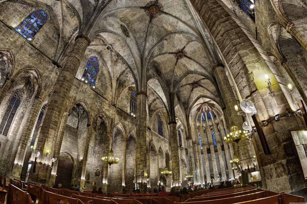 Church of Santa Maria building internal in Barcelona city | city …