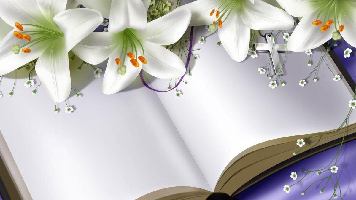 Easter Lilies on Bible widescreen wallpaper | Wide-