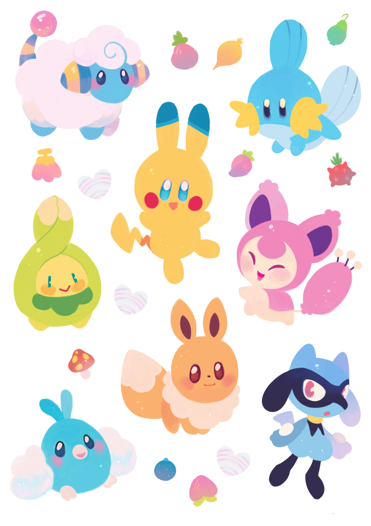Mareep, Pikachu, Mudkip, Budew, Skitty, Eevee, Swablu, and Riolu …