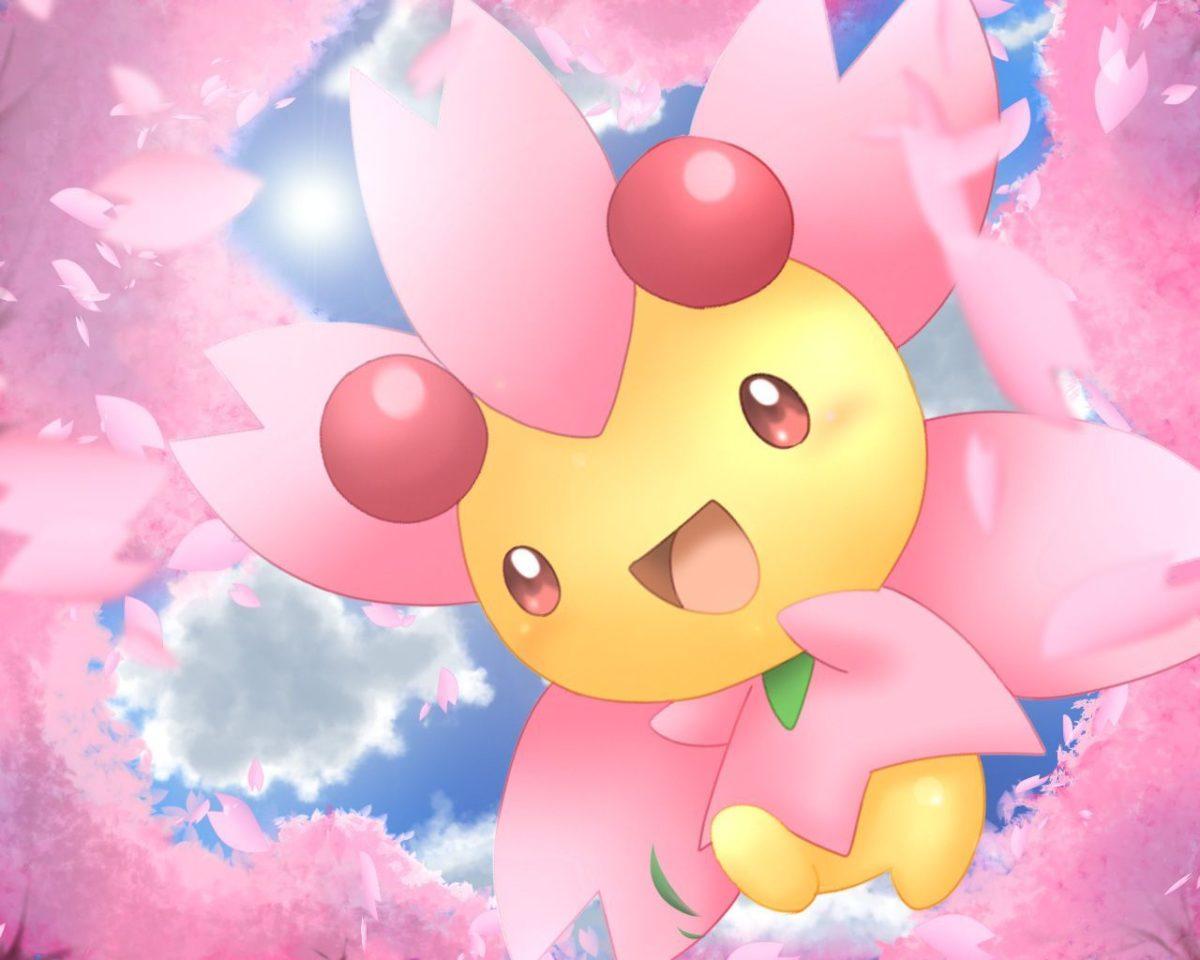 Cherrim sunny day mode pokemon grass cute wallpaper sakura tree …