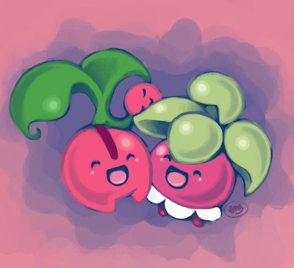 Bounsweet and Cherubi | Pokémon | Pinterest | Pokémon, Fanart …