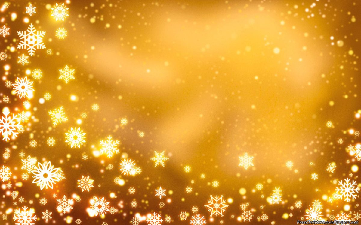 Yellow Christmas Background with Snowflakes Wallpaper