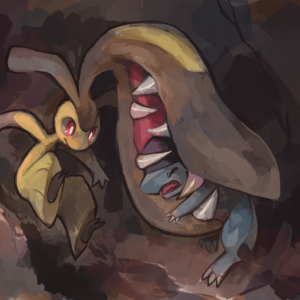 download biting brown_background claws closed_eyes cranidos extra_mouth …