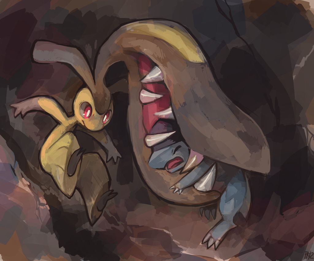 biting brown_background claws closed_eyes cranidos extra_mouth …