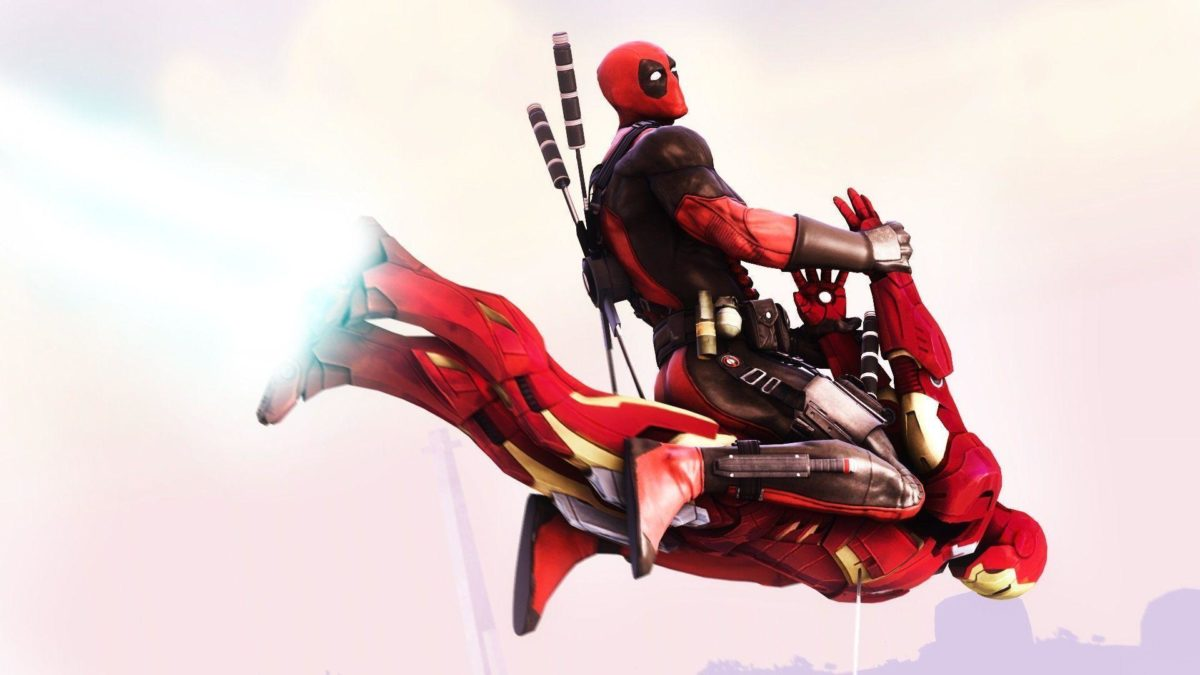 Deadpool flying on Iron Man Wallpaper #