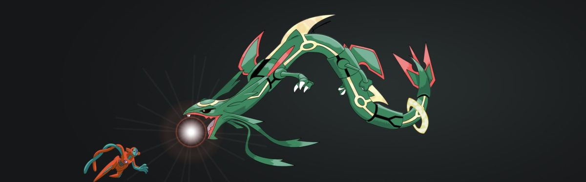 2880×900] My Attempt at a Rayquaza vs. Deoxys Wallpaper, I'm not the …