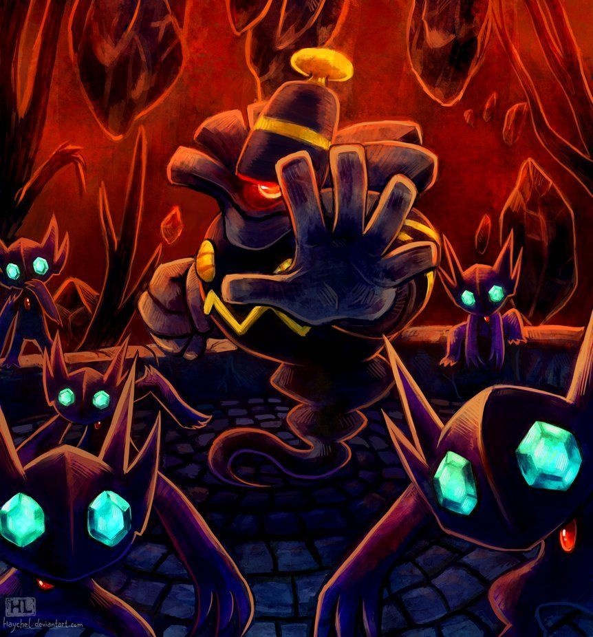 This is Mr. Dusknoir and his Sableye gang. He tried to harm us, but …