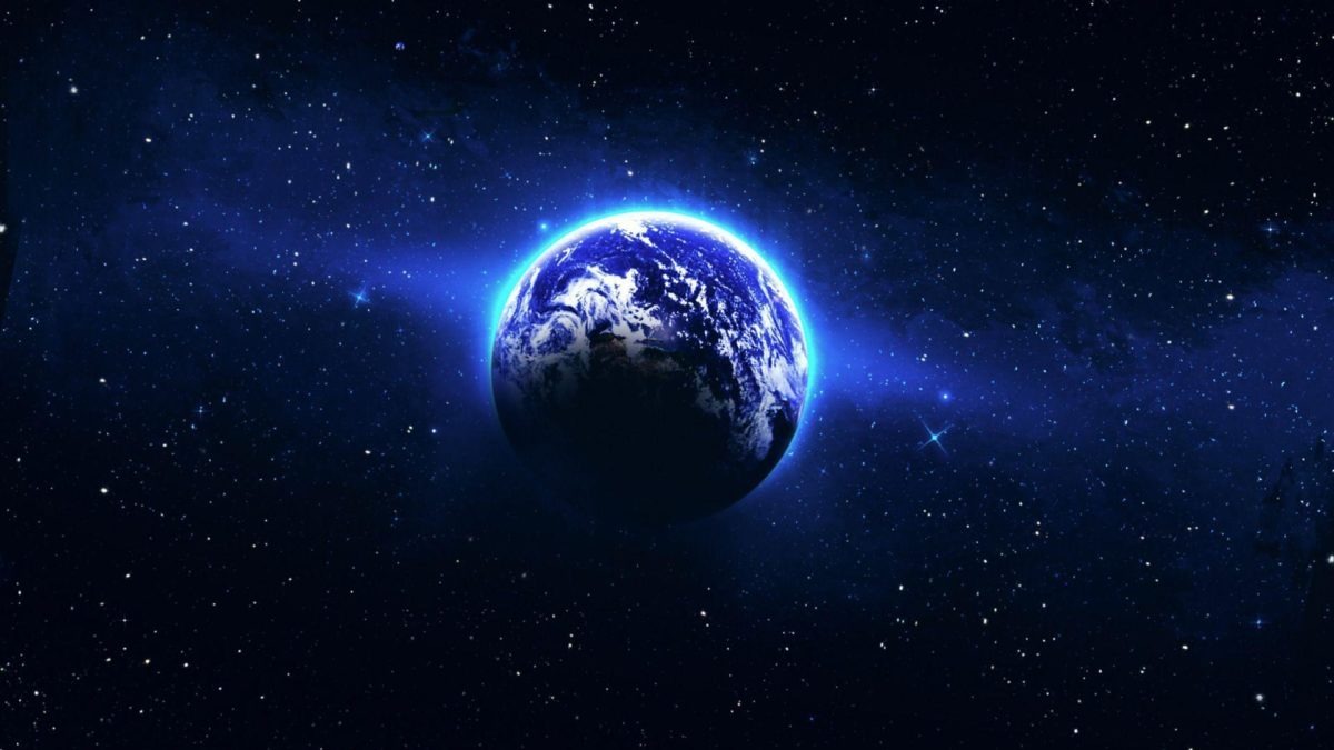 Circle of blue light around the Earth Wallpaper #