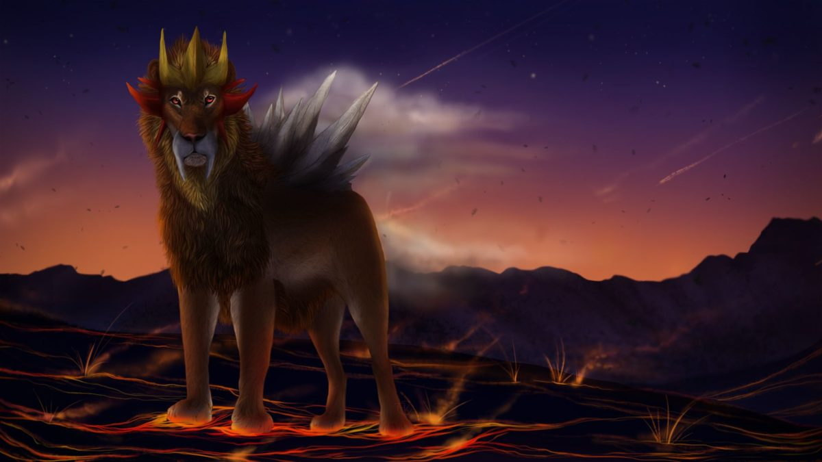 Entei is large and pointing by Chickenbusiness on DeviantArt