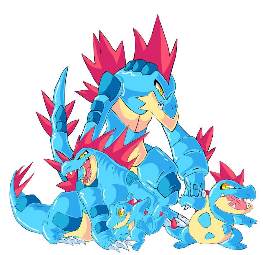 Totodile, Croconaw, Feraligatr and Mega Feraligatr by tekkenrocker …
