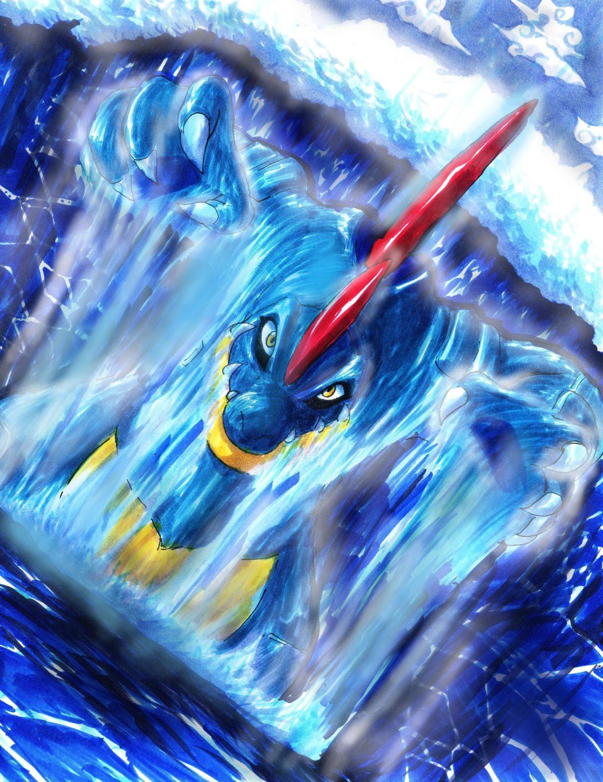 water pokemon surfing deviantart artwork waterfalls feraligatr …