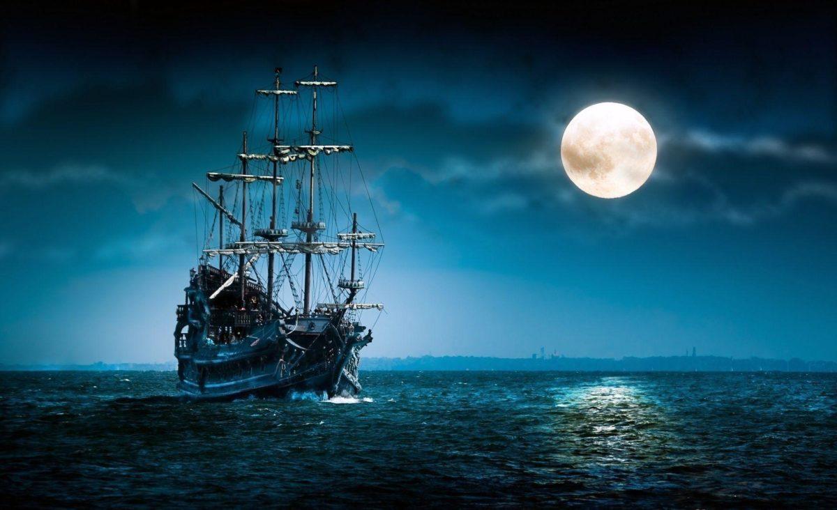 Full Moon Night Ship – NineWallpaper