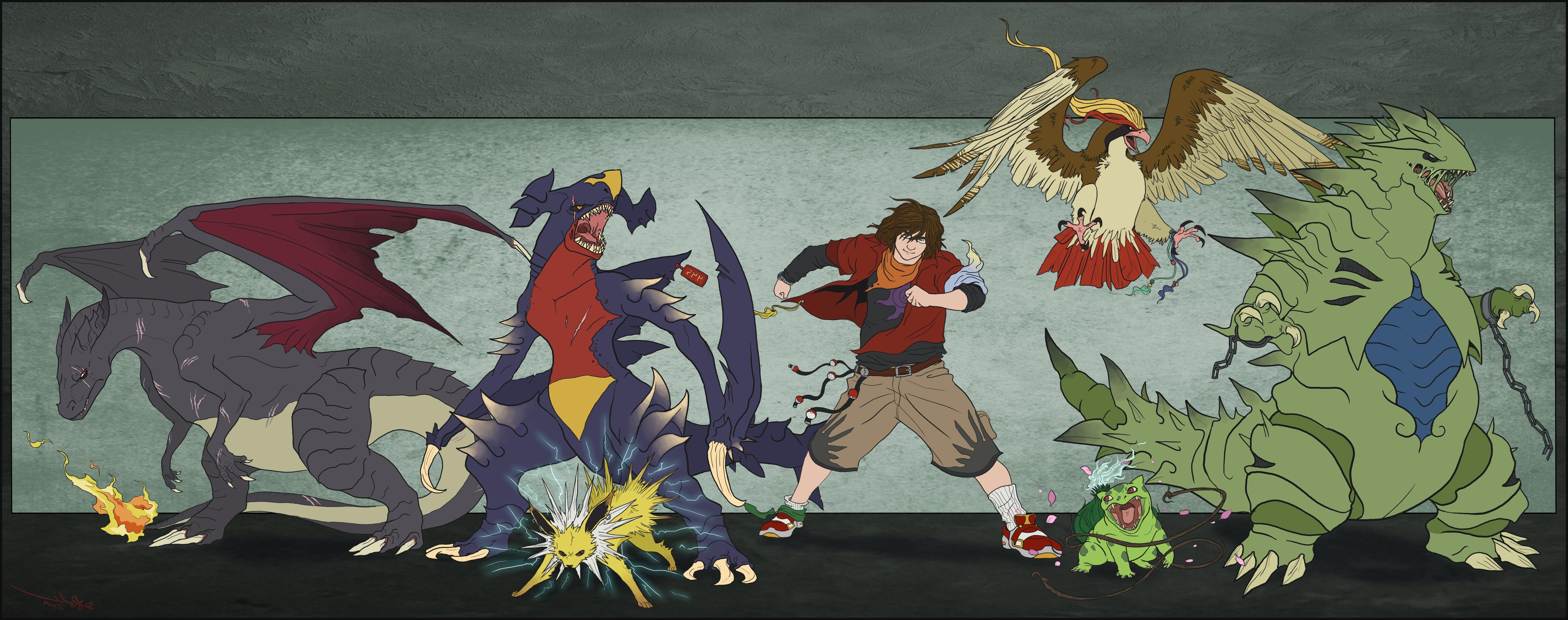 Wallpaper : illustration, red, Joltion, Charizard, comics, Bulbasaur …