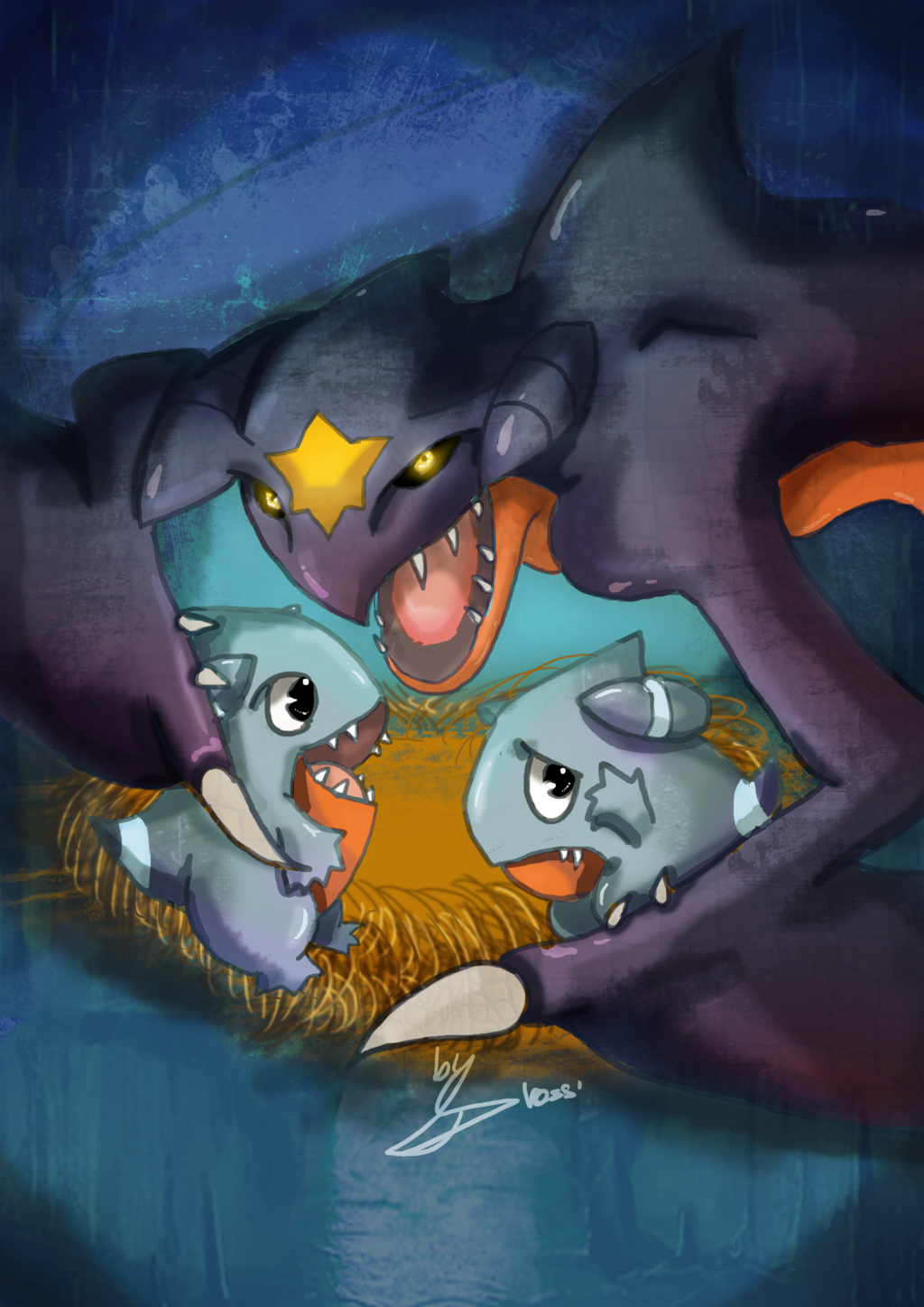 Garchomp mother protecting little Gible (final) by DrossLoveYaoi on …