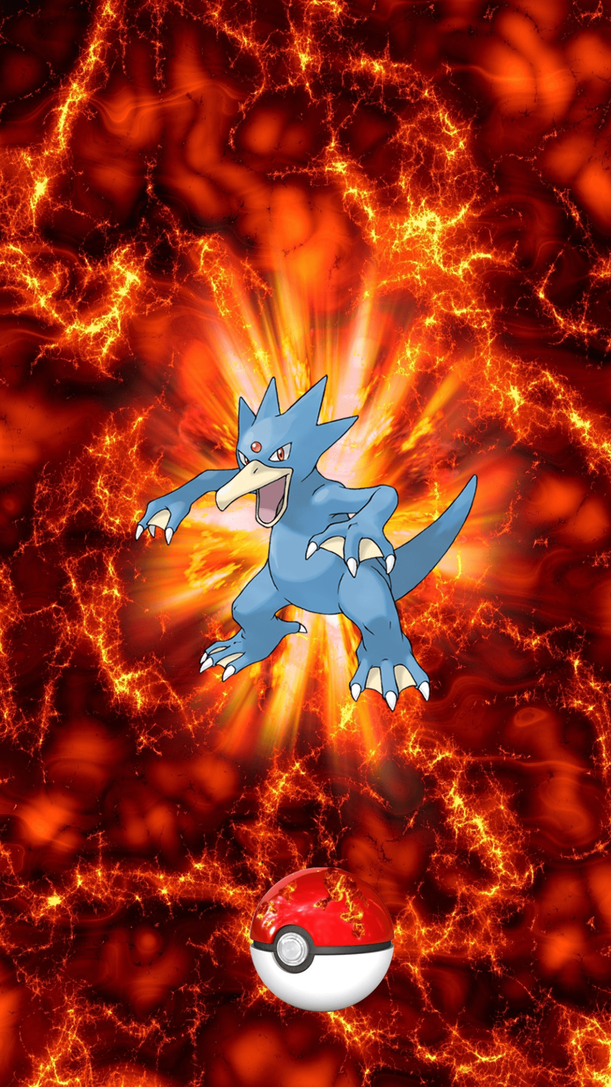 055 Fire Pokeball Golduck Golduck Psyduck | Wallpaper