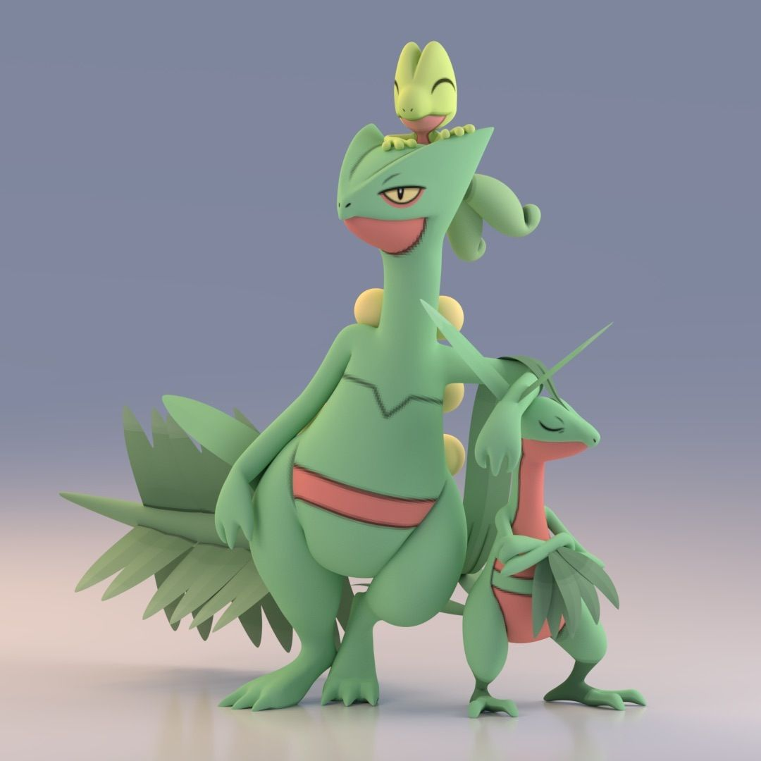 Render of Sceptile, Grovyle, and Treeko using Pokemon X and Y …