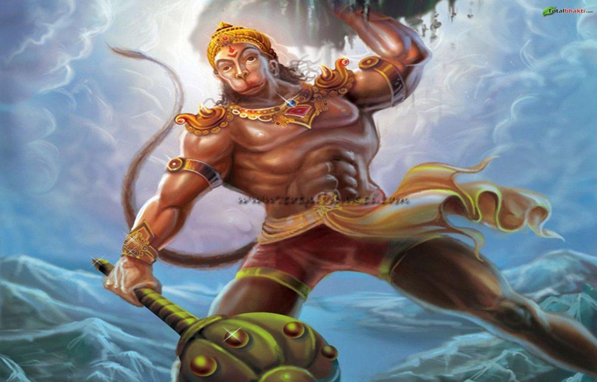 hanuman wallpaper, Hindu wallpaper, Lord Hanuman lifting mountain …