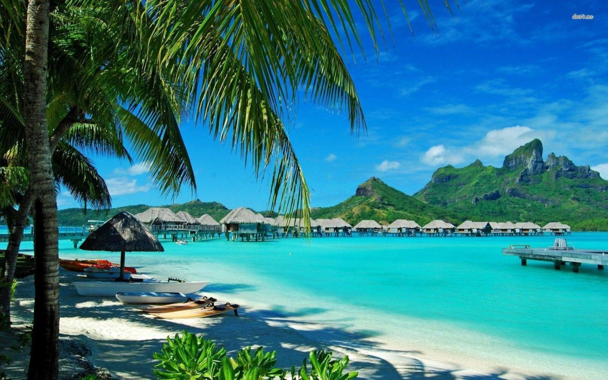 Hawaiian bungalows wallpaper – Beach wallpapers – #