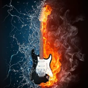 download Wallpapers For > Blue Flaming Guitar Wallpaper