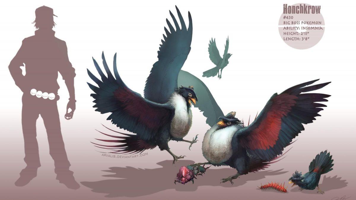 Pokemon birds digital art artwork honchkrow realistic wallpaper …
