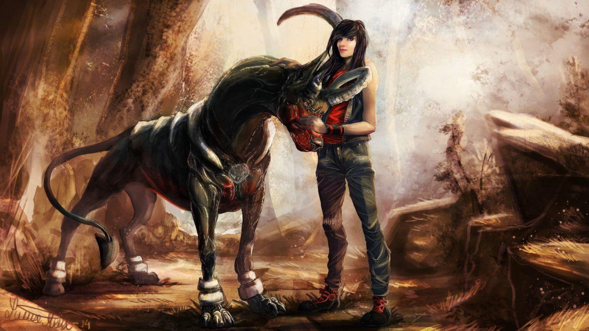 Download Wallpaper 3840×2160 Creature dog, Houndoom, Pokemon, Girl …