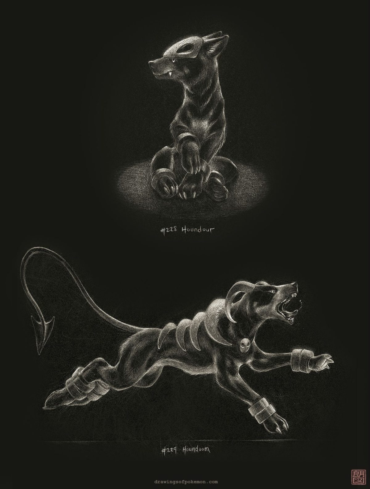 Drawings I made of Houndour and Houndoom with white pencil. (x-post …
