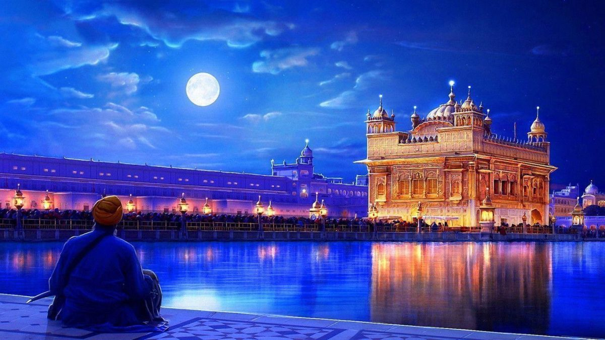1366×768 Golden temple india Wallpaper