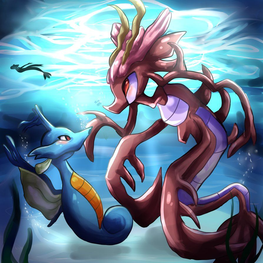 The kingdra and the dragalge by Bluukio on DeviantArt