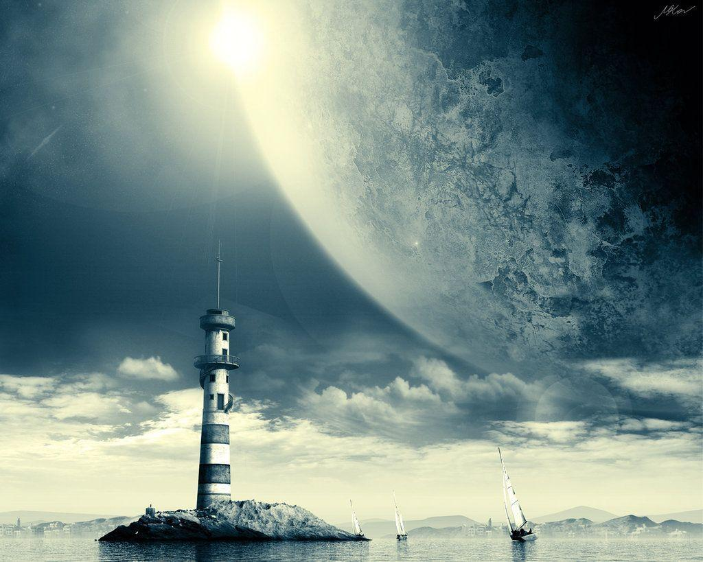 DeviantArt: More Like Space Lighthouse wallpaper by FISHBOT1337