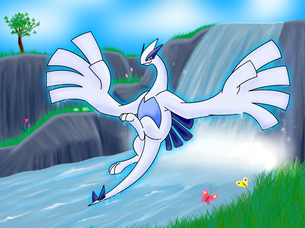 Lugia images Lugia by a waterfall. HD wallpaper and background …
