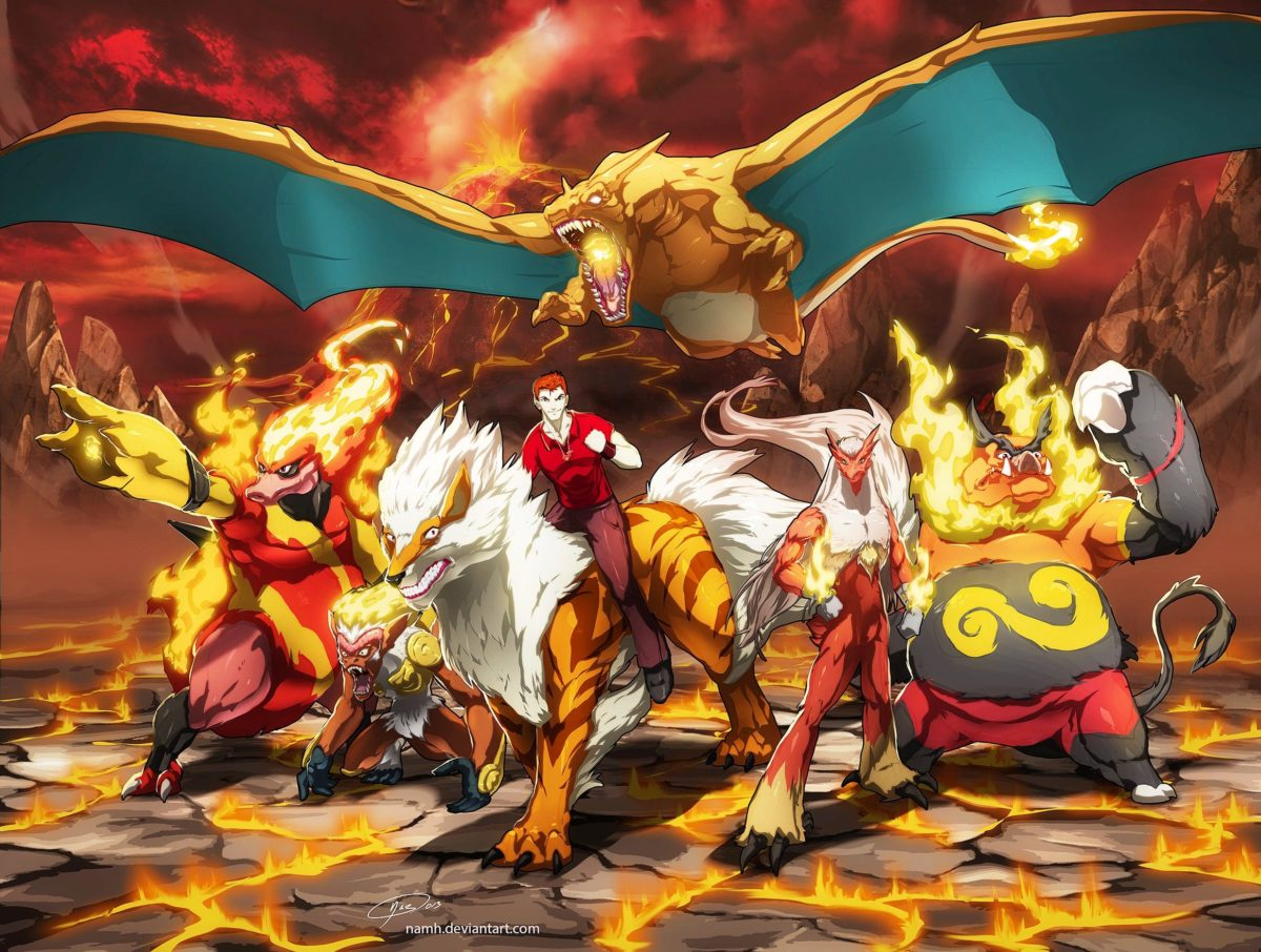 Nintendo, pokemon, mountains, landscapes, fire, lava, Blaziken …