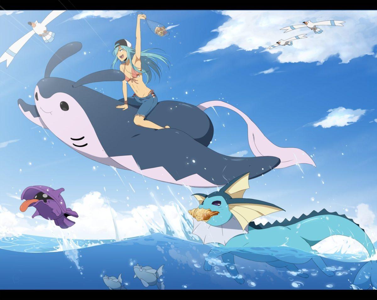 Pokemon aqua hair bikini blue hair bra clouds hat mantine pokemon …