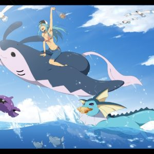 download Pokemon aqua hair bikini blue hair bra clouds hat mantine pokemon …