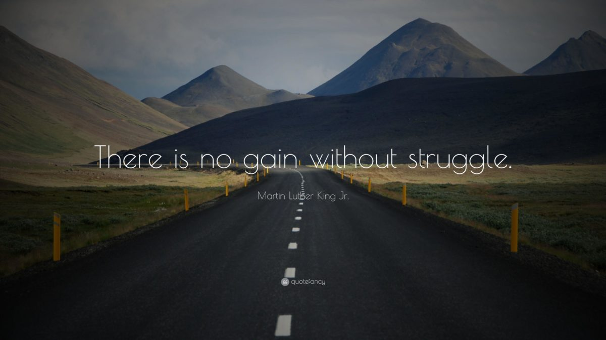 """Martin Luther King Jr. Quote: """"There is no gain without struggle …"""