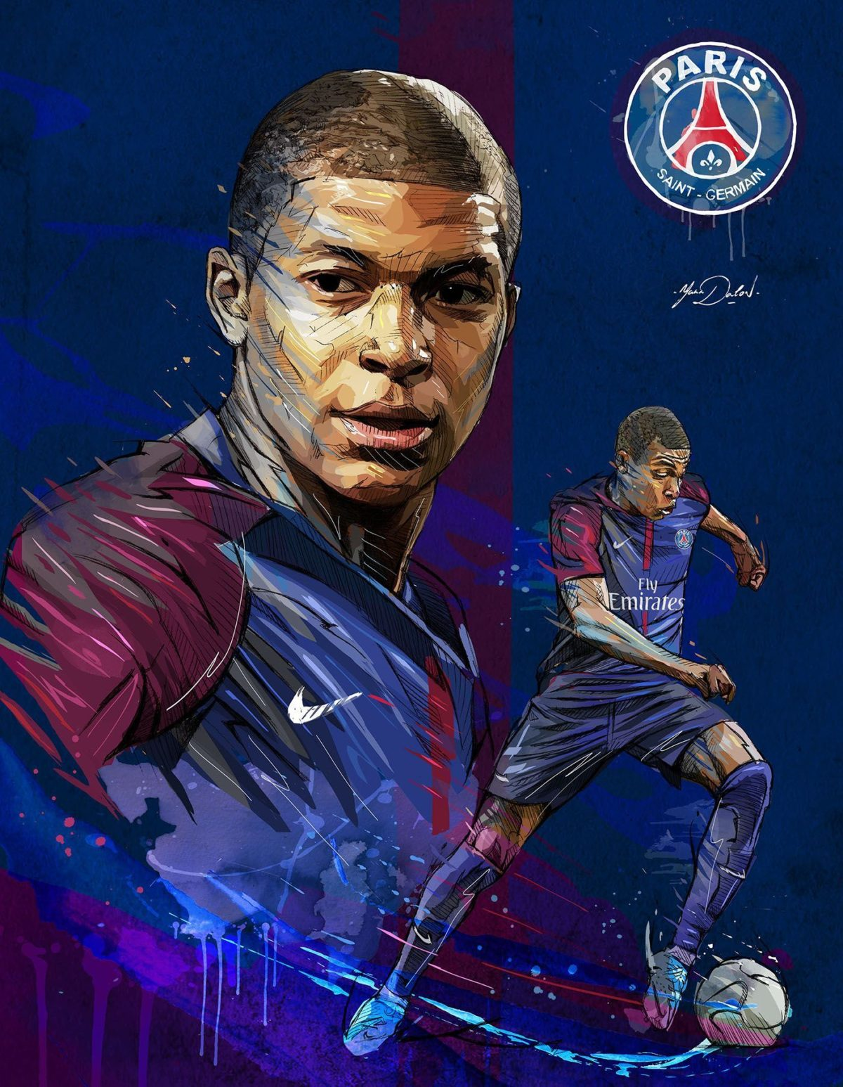 My painting of Kylian Mbappé, young soccer player of the PSG …