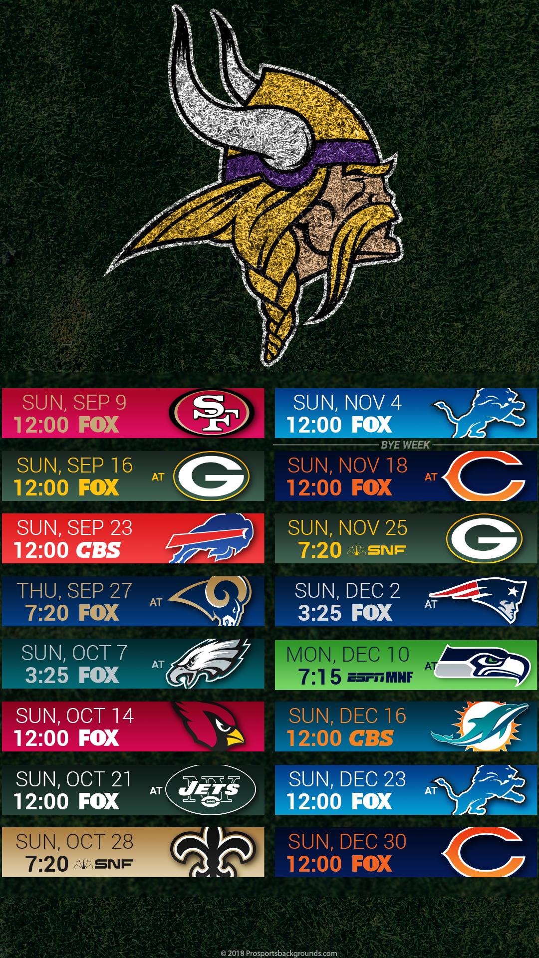 Minnesota Vikings 2018 Mobile Turf Schedule Wallpaper