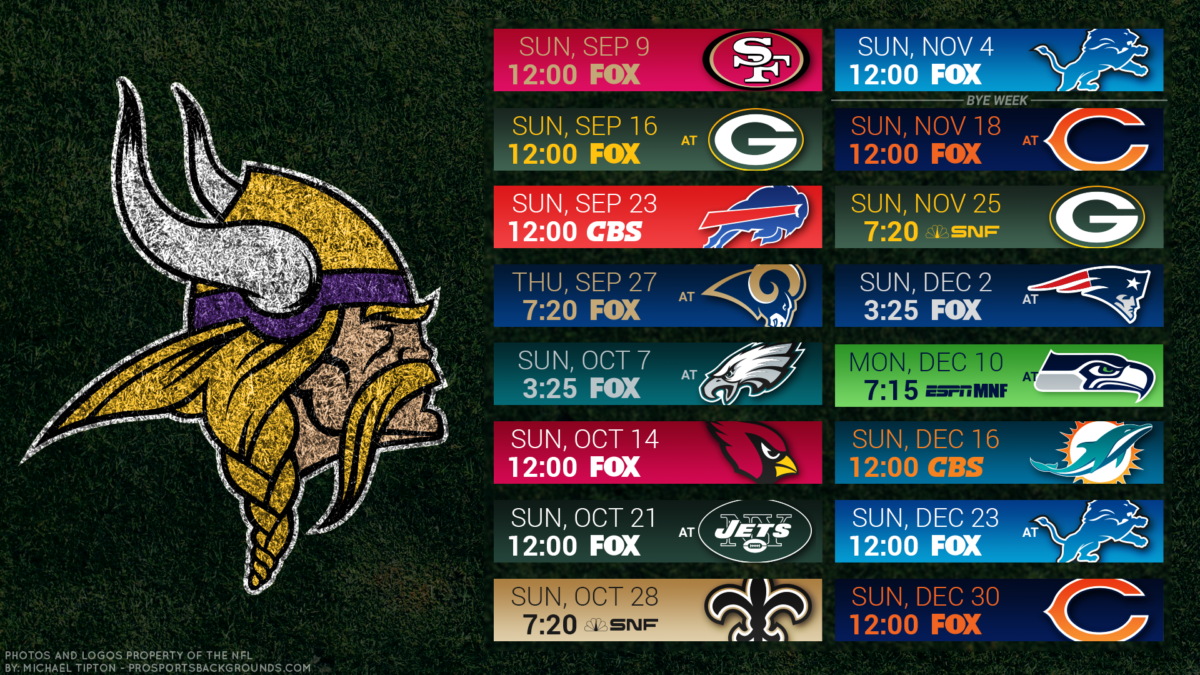 Minnesota Vikings 2018 PC Turf Schedule Wallpaper