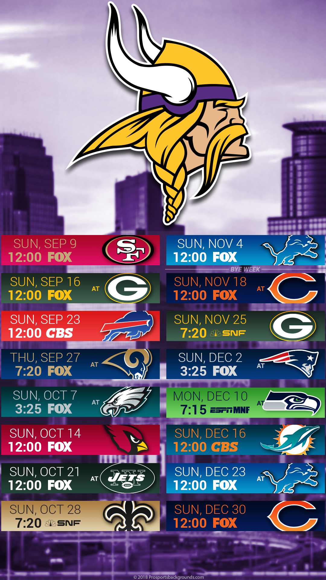 Minnesota Vikings 2018 Mobile City Schedule Wallpaper