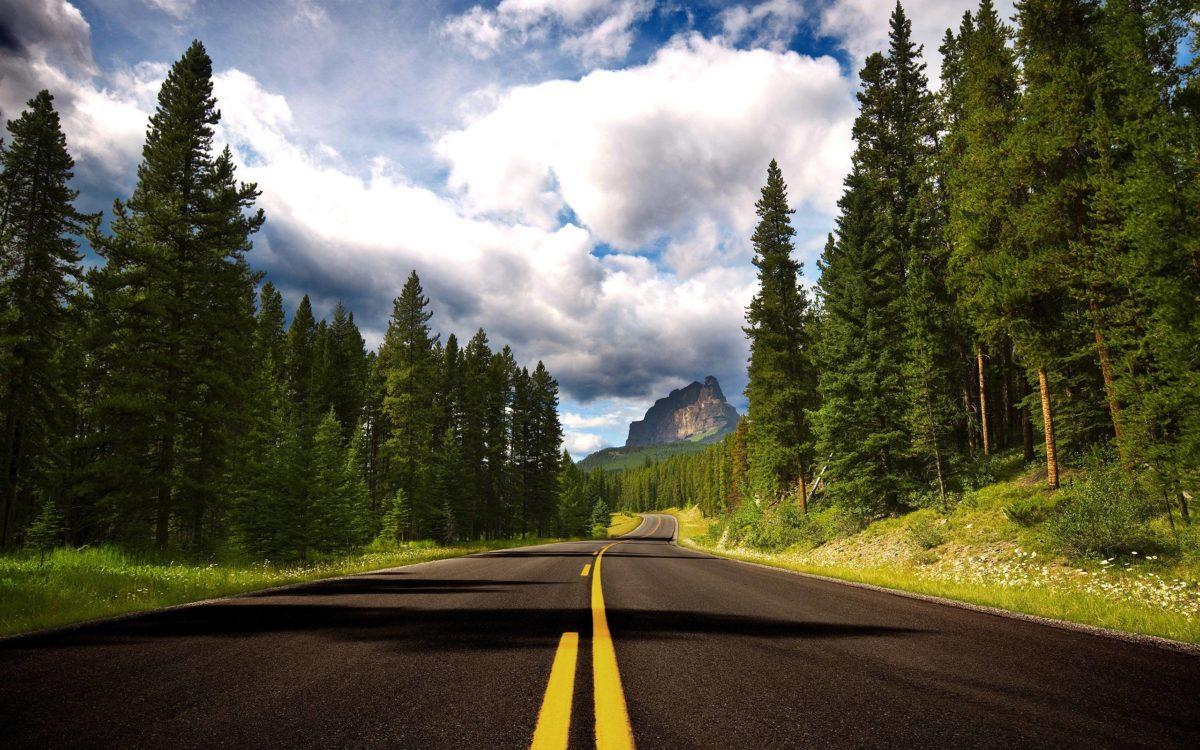Route To Castle Mountain Wallpaper Landscape Nature