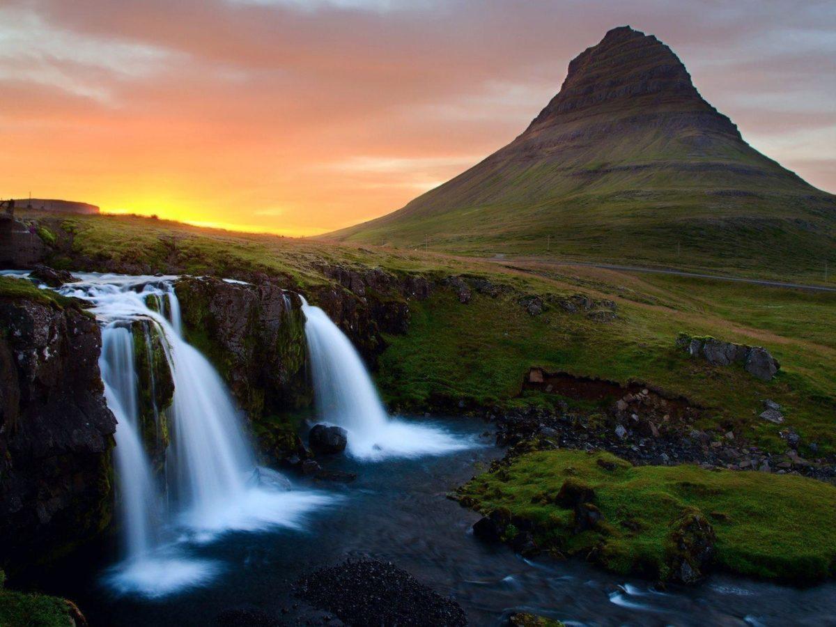 Waterfall Mountain Wallpaper