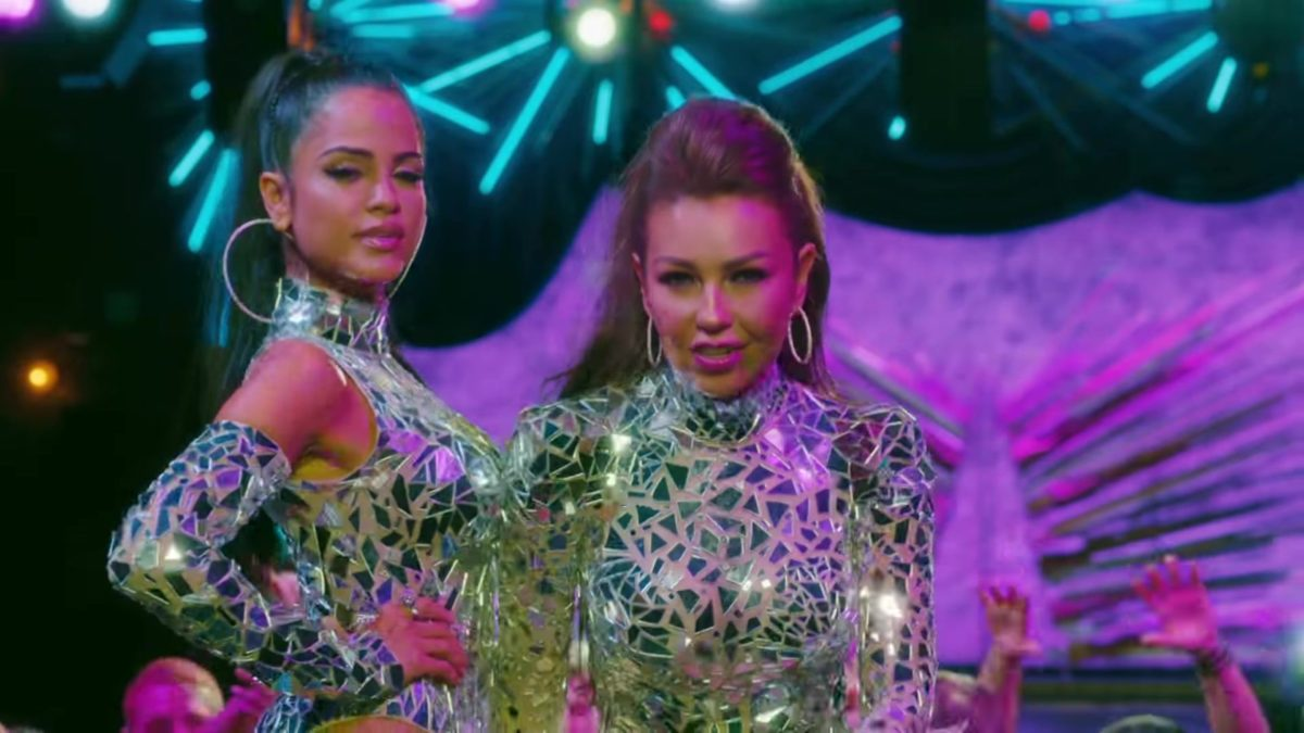Sequin & Glitter Outfits Worn by Thalía and Natti Natasha in