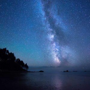 download Wallpaper art, fantasy, girl, sea, rocks, night, night sky, stars …