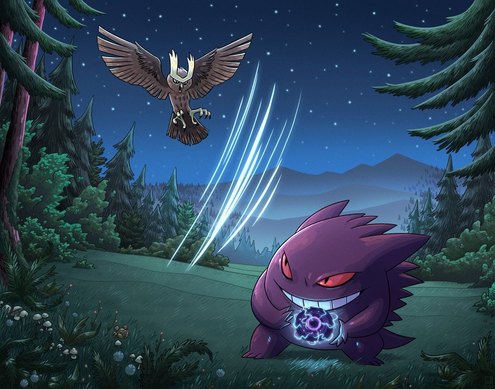 Noctowl vs Gengar by mscorley on DeviantArt