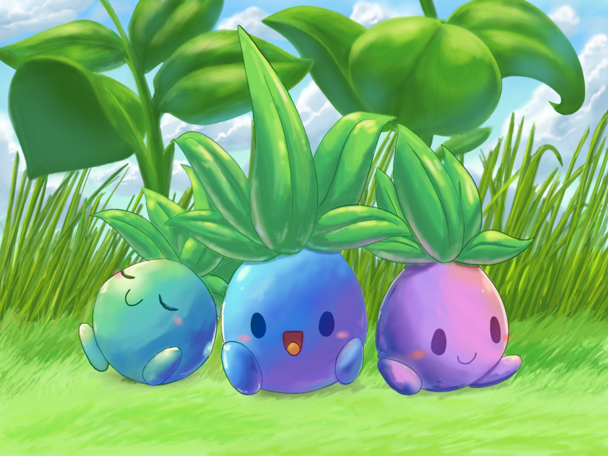Three colorful Oddish by aquabluu on DeviantArt