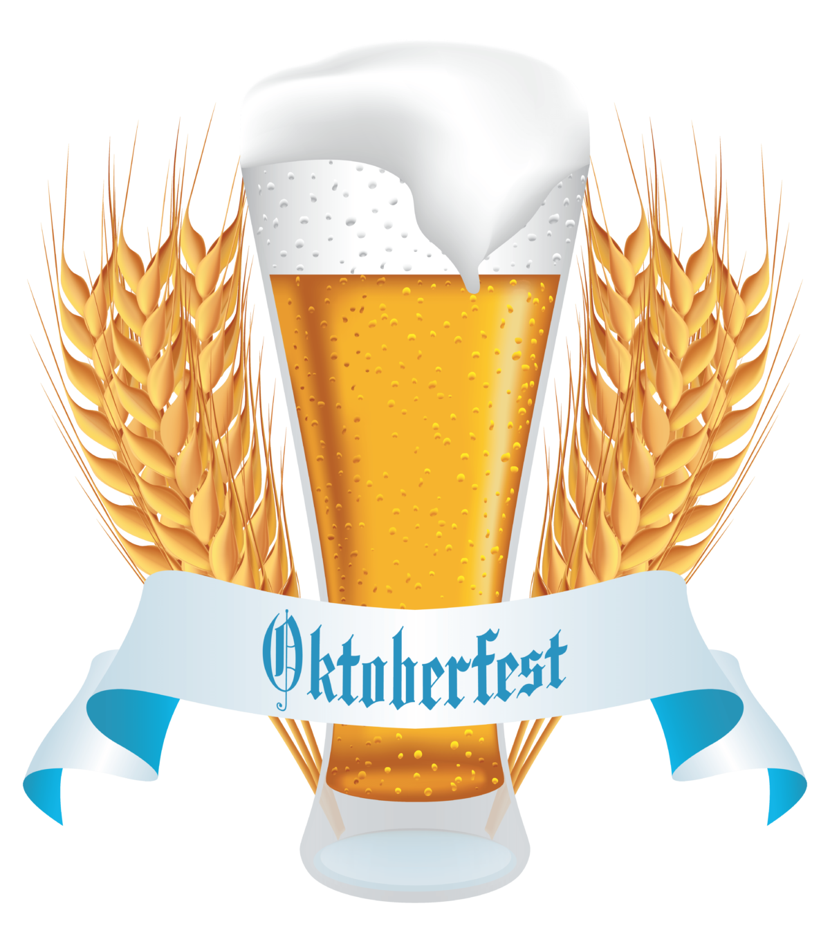 Oktoberfest Beer with Wheat Banner PNG Clipart Image